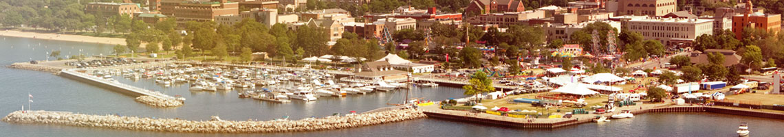 Aerial shot of Grand Traverse Bay and downtown