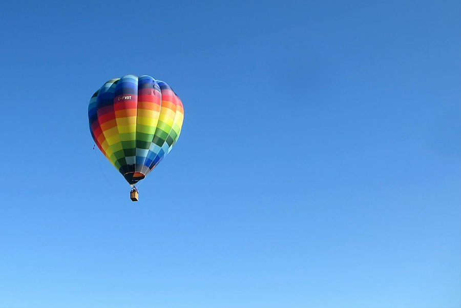 Hot Air Balloon on Blue Sky