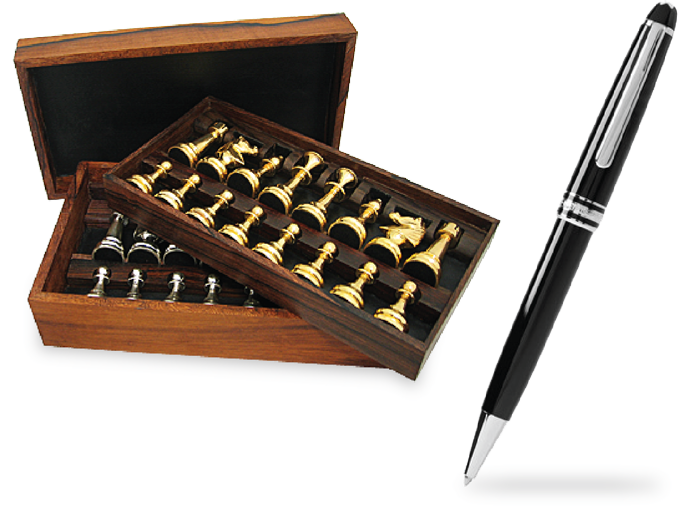 Customized chess pieces and a pen